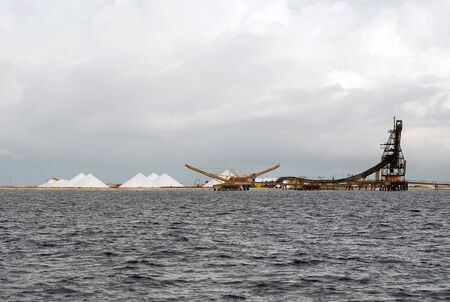 reloading: Salt extraction on island Bonaire Stock Photo
