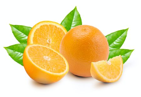 Orange with segments on a white background Stock Photo - 5622329