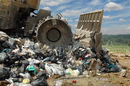 methane: The bulldozer buries food and industrial wastes