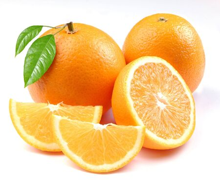 Orange with segments on a white background Stock Photo - 5683782
