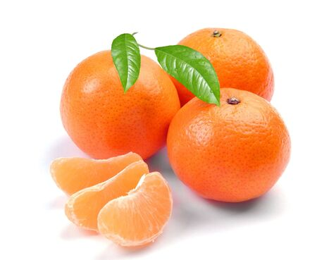 clementines with segments on a white background Stock Photo - 5710839