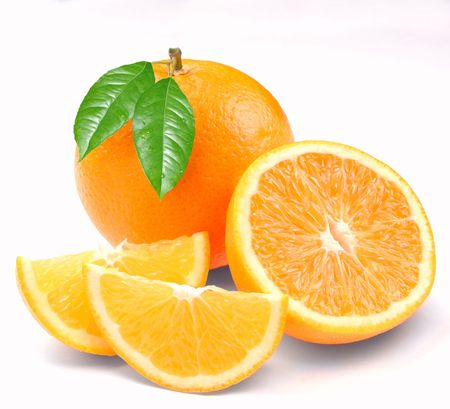 orange slices: Orange with segments on a white background