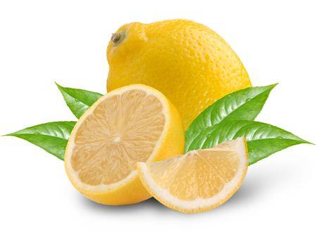 fresh lemons on a white background