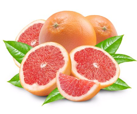 Grapefruit with segments on a white background
