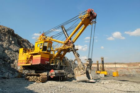 dredging tools: The big dredge in career of iron ore Stock Photo