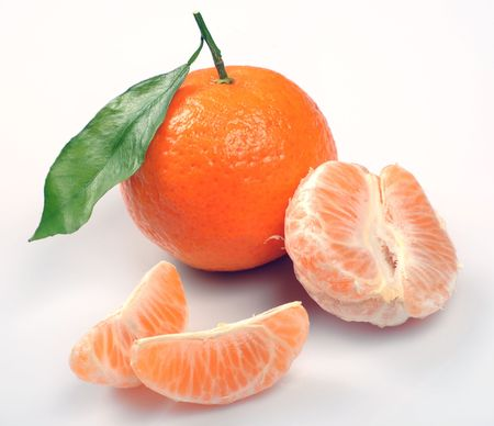 clementines: clementines with segments on a white background