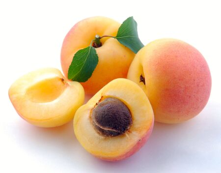 Apricot with leaves objects on white background