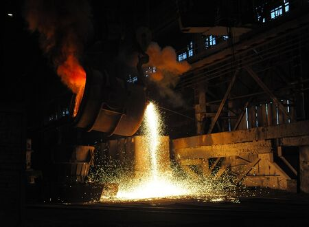 smelting of the metal in the foundry Standard-Bild