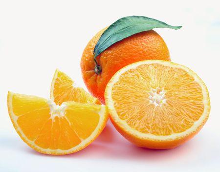 Orange with segments on a white background Stock Photo - 6379445