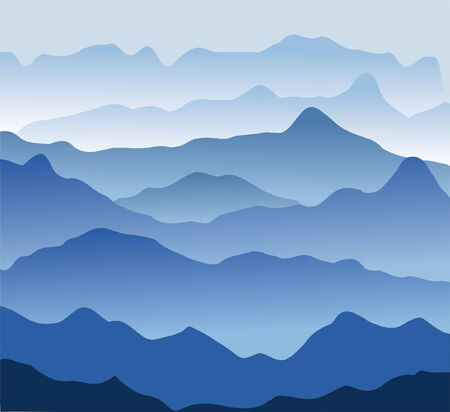 Blue mountains in a fog. Seamless illustration Stock Vector - 6800970