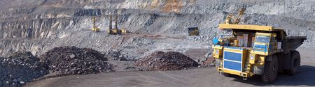 open cast mine: Panorama of an open-cast mine extracting iron ore