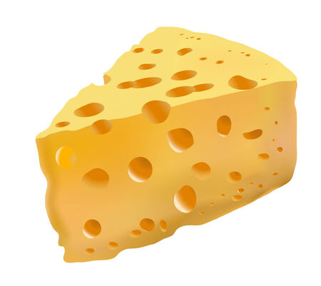 piece of yellow cheese with holes Vector