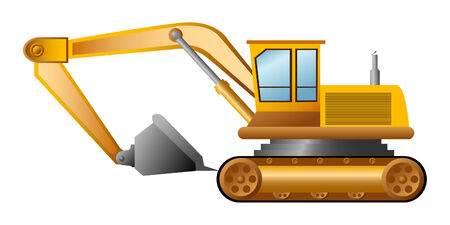 excavator on a white background Vector