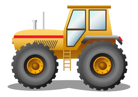illustration of a yellow tractor Vettoriali