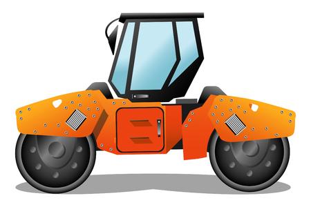 road paving: Orange road-roller illustration