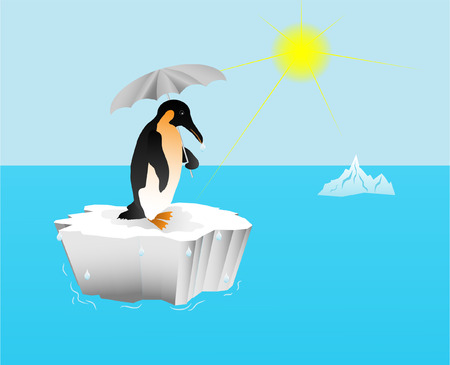 floe: Penguin with an umbrella on an ice floe; global warming