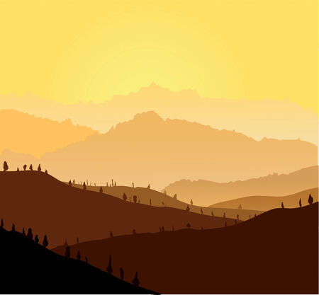 yellow mountains in a fog. Seamless illustration Stock Vector - 6901443