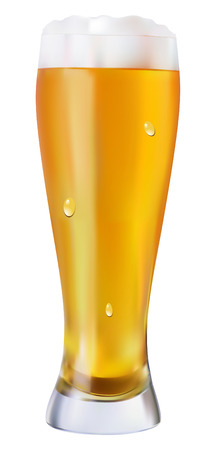 beerglass: Beer in glass objects on white background  Illustration