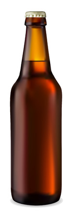 Dark bottle of beer on a white background