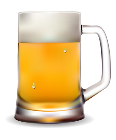 beer drinking: Mug of beer  on a white background vector