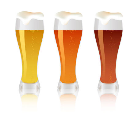 beerglass: Three glass with beer objects on white background Illustration