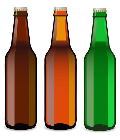 bottles of beer on a white background Illustration