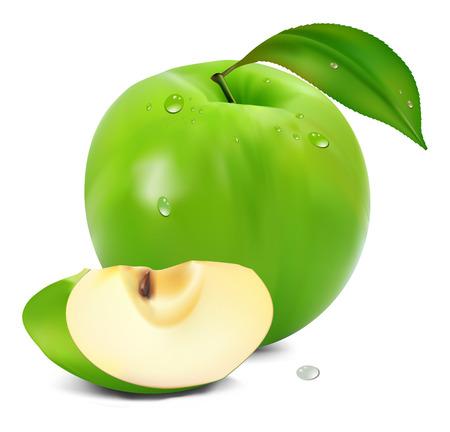 manzana verde fresco con hoja verde  Vectores
