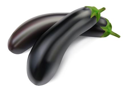 aubergine: Aubergine auf einem wei�en Hintergrund Illustration
