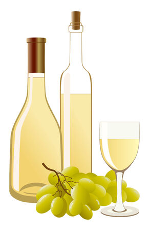 vino: Bottle and glass with white wine and grapes Illustration