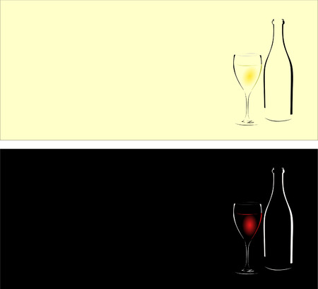 Bottle and glass with white and red wine on a black and light background Illustration