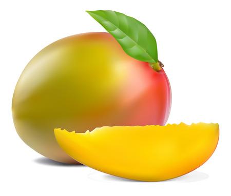 mango fruta: fruto de mango fresco con cortadas y verde hoja
