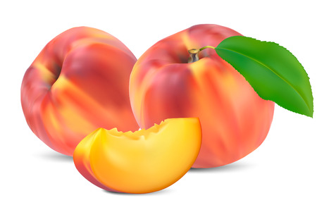 peaches with leaves and slices on a white background