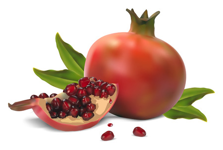 Pomegranate whole and open-face with seeds on a white background