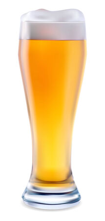 Beer in glass objects on white background  Illustration