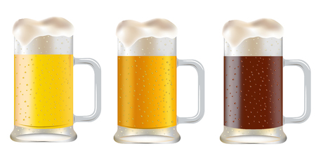 pint glass: three mug of beer on a white background  Illustration