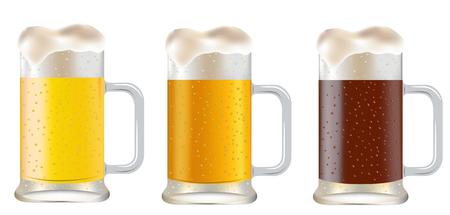 dark beer: three mug of beer on a white background  Illustration