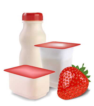 yogurt in separate boxes and strawberries Illustration