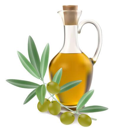 botella de aceite de oliva: botella de aceite de oliva con aceitunas sobre fondo blanco
