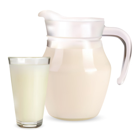 pitcher and a glass of milk Stock Vector - 9063468