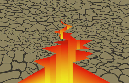 crack in the earth with fire inside Vector