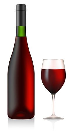 Bottle and glass with red wine; vector Illustration