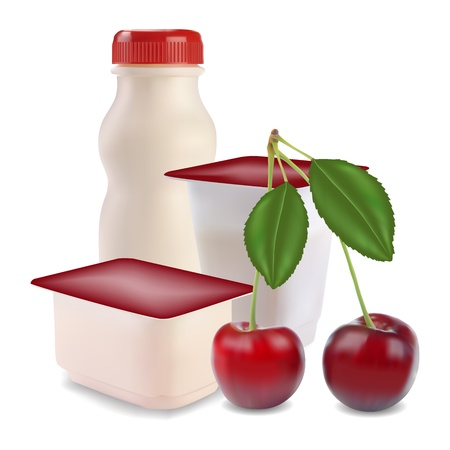 plastic box: yogurt in separate boxes and cherry vector