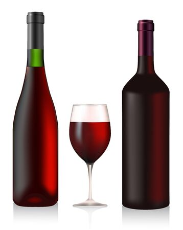 vino: Two bottles and glass with red wine Illustration