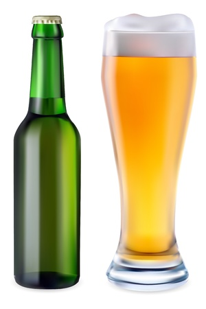 Beer in glass and green bottle of beer on a white background Illustration