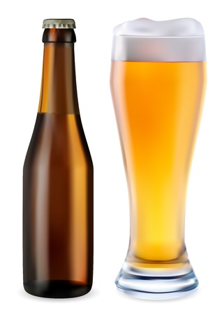 Beer in glass and dark bottle of beer on a white background Illustration