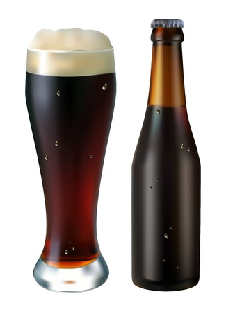 glass and bottle of dark beer on a white background; vector Illustration