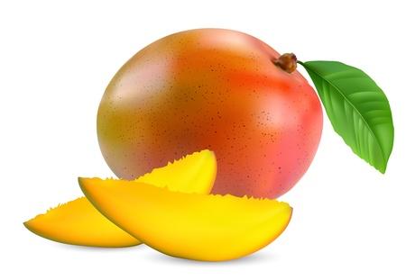 mango: frische Mango-Frucht mit Schnitt und gr�nen Bl�ttern Vektor Illustration