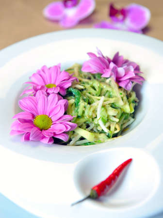 soy sprouts: Salad of soy sprouts with algae on a plate