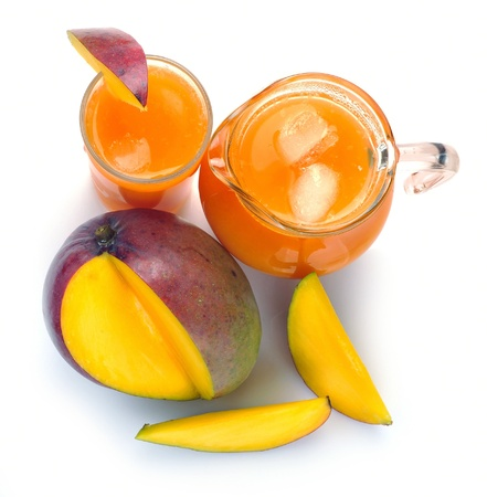mango juice in a jug and a glass of fruit photo