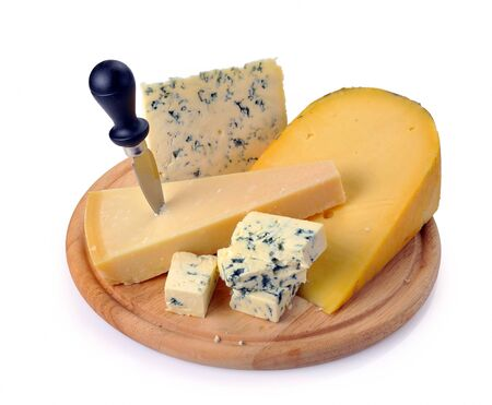 parmezan: set of cheese on a wooden board